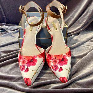 Louise et Cis Floral Heels w/Adjustable Strap